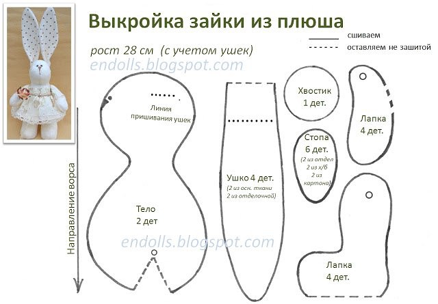 выкройка для зайцев тильды