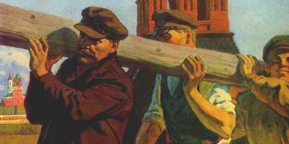 С. Иванов.  «Ленин на Всероссийском субботнике в Кремле». 1980 год