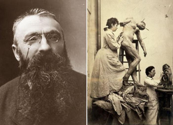 Слева – Огюст Роден. Справа – Камилла Клодель в мастерской | Фото: f-picture.net и rodin-web.org