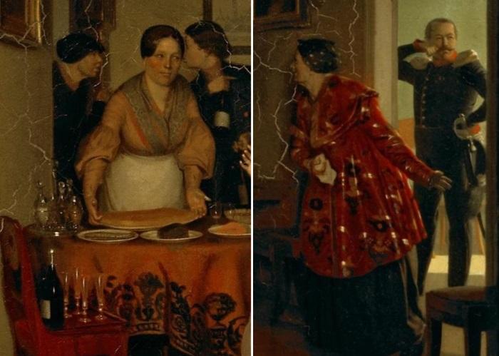 П. Федотов. Сватовство майора, 1848. Фрагменты   Фото: fb.ru