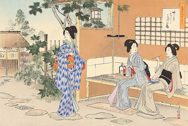 Беседа в небольшом саду возле чайного домика (650x435, 435Kb)