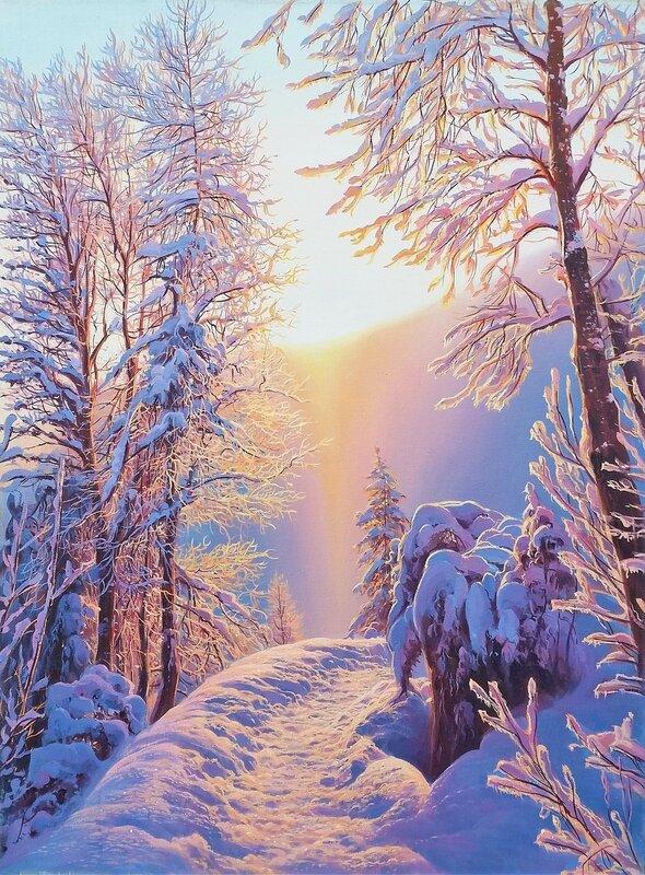 Зимнее  утро в лесу ( июль 2016 г.)