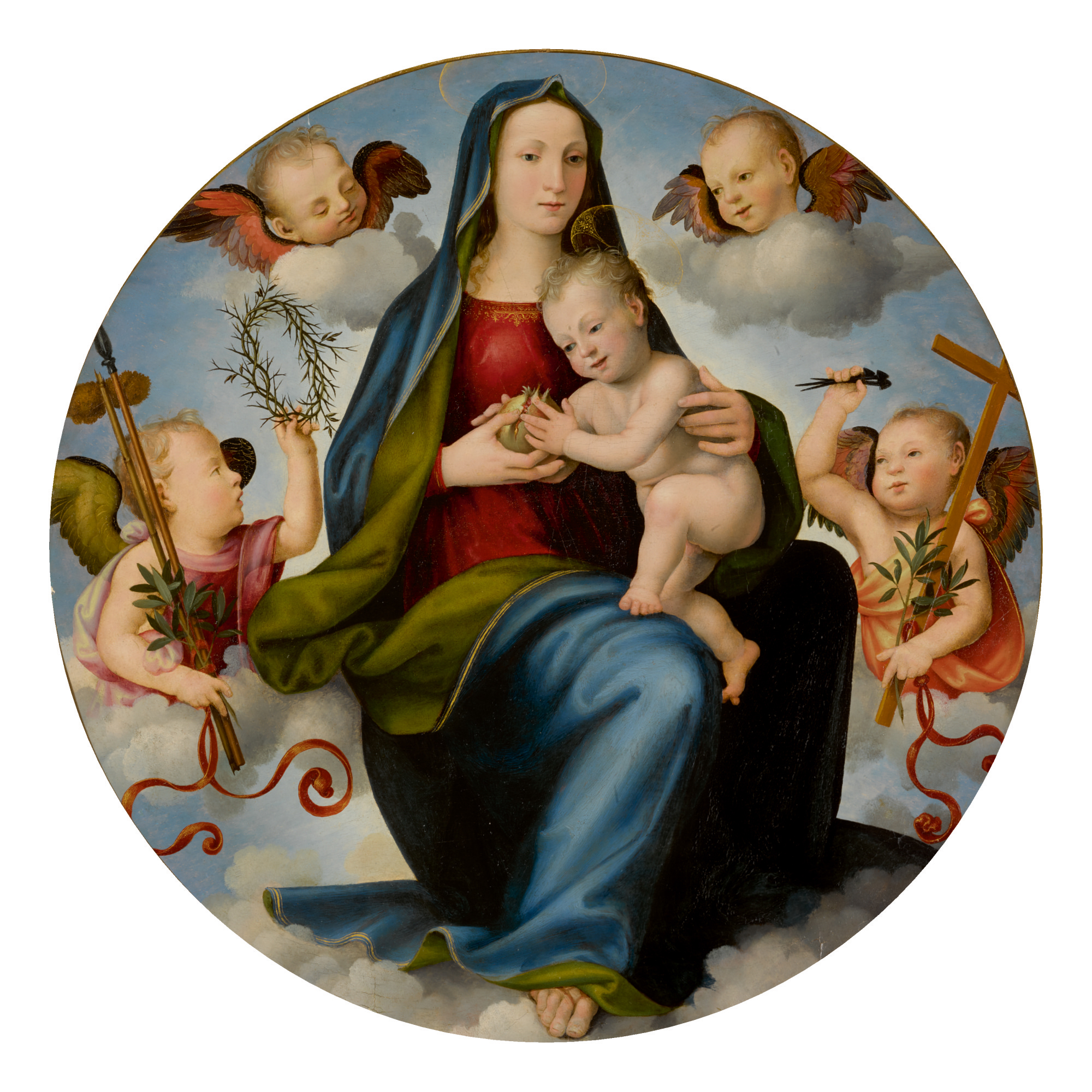 Sold Without Reserve | MARIOTTO DI BIAGIO DI BINDO ALBERTINELLI | MADONNA AND CHILD ENTHRONED IN THE CLOUDS, SURROUNDED BY TWO ANGELS HOLDING INSTRUMENTS OF THE PASSION AND TWO CHERUBIM