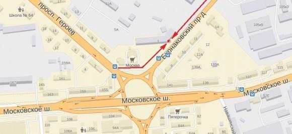 карта проезда в новый демонстрационно-торговом зале Арсенал Мастера