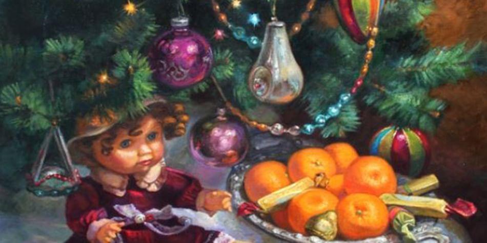 Мандарины и кукла под наряженной елкой. Картина