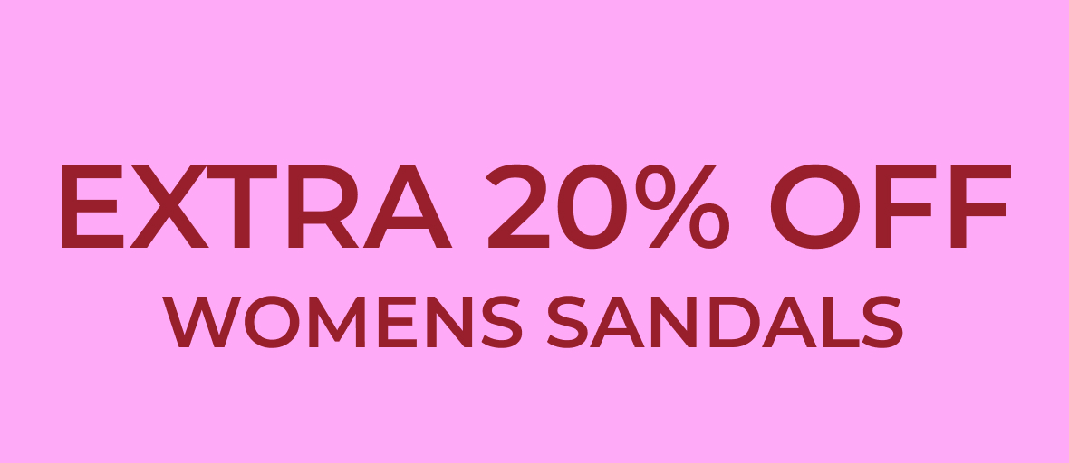 20% off women's sandals banner links to women's sandals page