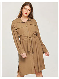 Большое платье-рубашки с вырезом и поясом