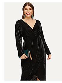 SHEIN Размера плюс хлопковое платье с запахом и низким V-образным вырезом