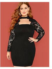 SHEIN Плюс размеры платье с кружевным рукавом
