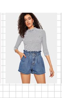 SHEIN Джинсовые шорты с карманом и оборками