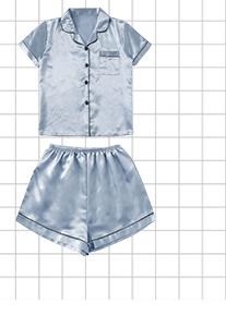 Атласные пижамы с контрастной кулиской