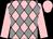 Pink & grey diamonds, pink sleeves & cap