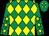 Emerald green and yellow diamonds, emerald green sleeves, yellow stars