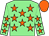 Light green, orange stars, orange cap