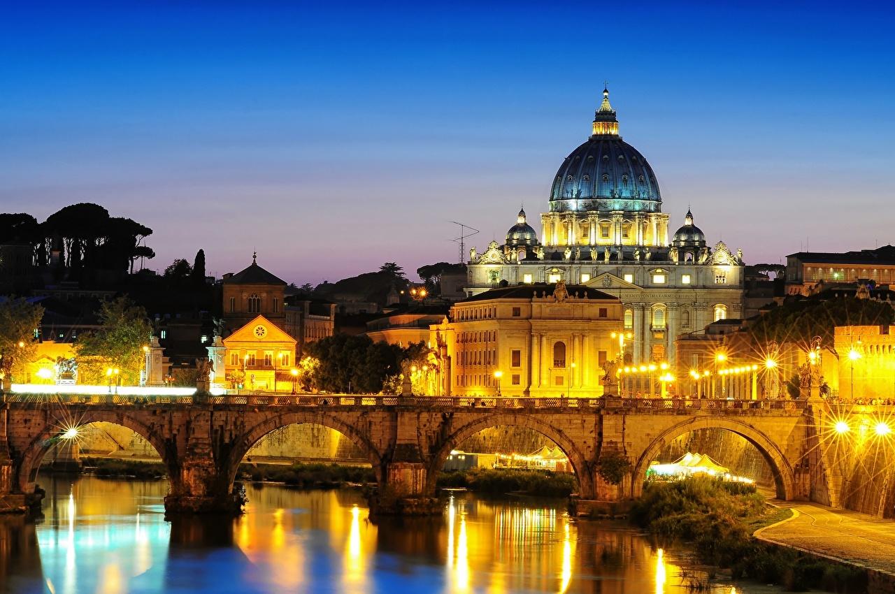 Мосты Италия St. Peter s Basilica St. Angelo Rome Ночь Фонари Города