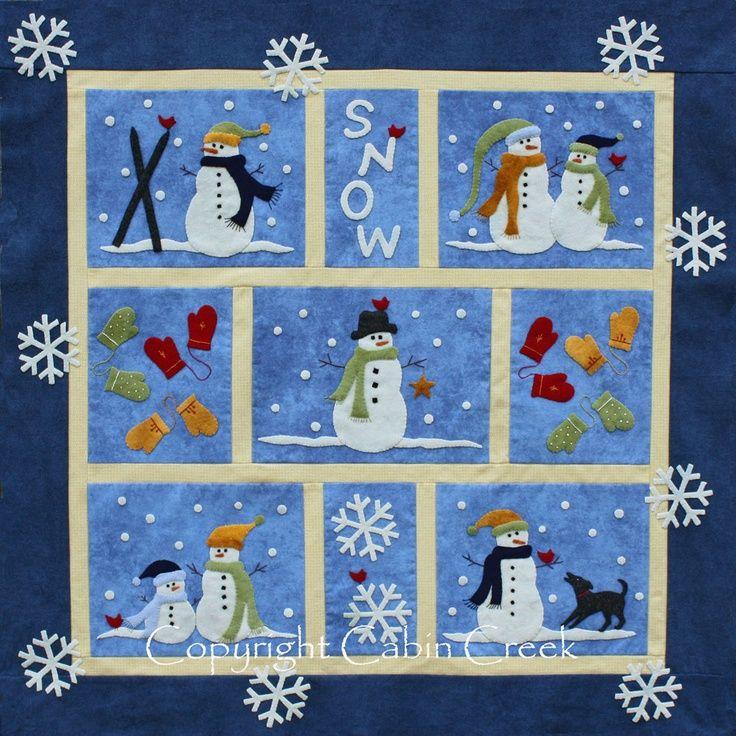 Wool Applique Projects | Snow Wool Applique Quilt Pattern | Wool Felt Projects