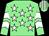 Light green, white stars, chevrons on sleeves, striped cap