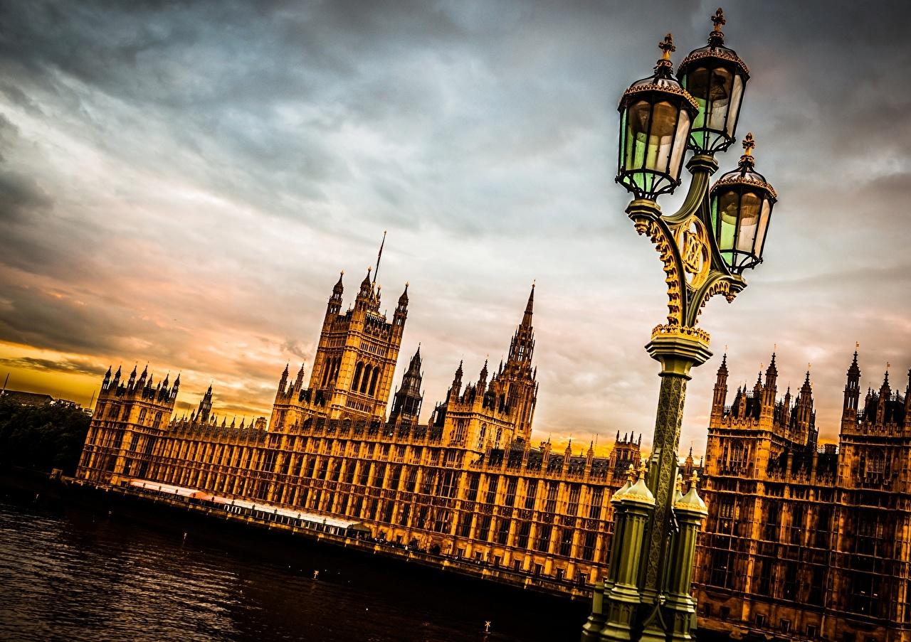 Небо Англия Великобритания Westminster Palace Фонари Лондон Города