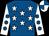 Royal blue, white stars, white sleeves, royal blue spots, quartered cap