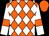 Orange and white diamonds, white sleeves, orange armlets, orange cap