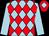 Light blue and red diamonds, light blue sleeves, red cap, light blue diamond