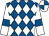 Royal blue & white diamonds, white sleeves, royal blue armlet, royal blue & white quartered cap