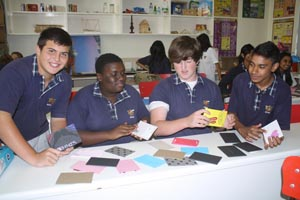 iEARN students at Eden College Durban make braille cards