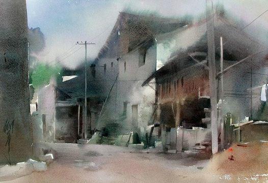 Художник Liu Yi. Акварель двенадцатая
