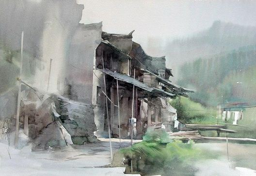 Художник Liu Yi. Акварель тринадцатая