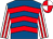 Royal blue, red chevrons, white and red striped sleeves, red and white quartered cap