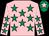 Pink, emerald green stars, emerald green cap, pink star