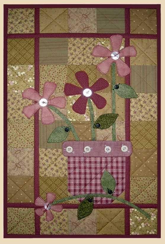 Стихаря Уолл Одеяло узор Цветы в вазе Apple, патч Дизайн в стиле кантри Ткань Одеяло строчки