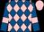 Royal blue and pink diamonds, royal blue sleeves, pink armlets, pink cap